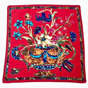 """RED SILK FLORAL PRINT SCARF 27"""" SQUARE"""